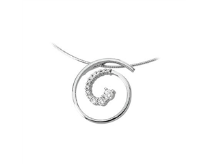 14k White Gold 0.50ctw Diamond Journey Swirl Pendant